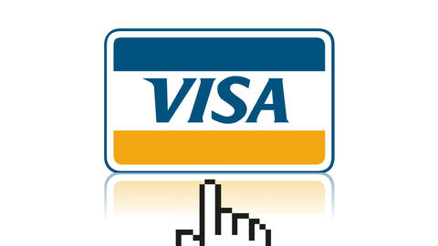 Visa logo online shopping payment e-commerce credit card Footage