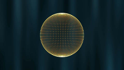 3D orb shape of particles moving and rotating. Science motion graphics with dark Animation
