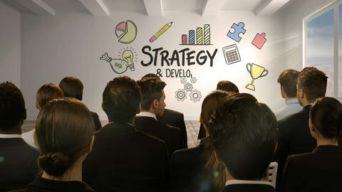 Business people looking at digital screen showing strategy development Footage
