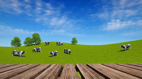 Wooden table perspective and rural landscape with grazing cows Animación