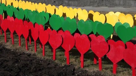Lithuanian flag made of painted hearts on sticks ビデオ