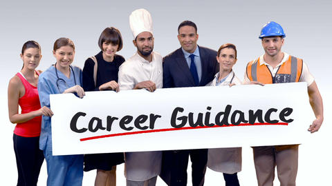 Various professional holding placard of career guidance text Live Action