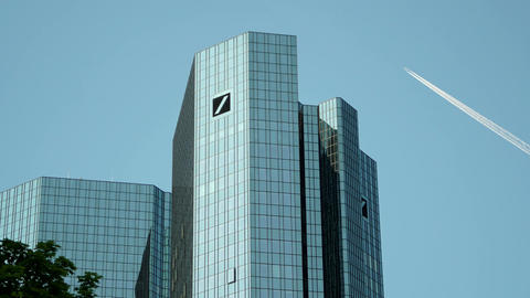 Deutsche Bank Headquarter Towers in Frankfurt Germany Footage
