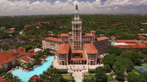 CORAL GABLES - MAY 12, 2017: Aerial video of the Biltmore Hotel which was built Footage