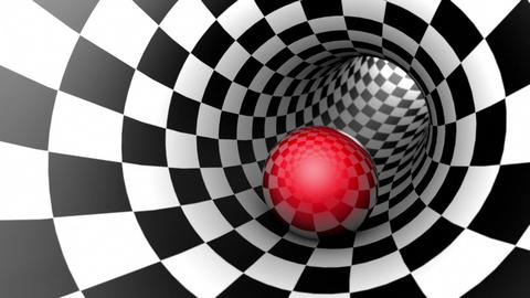 Red ball in a chess tunnel (chess metaphor). Seamless Looping. 3D animation Animation