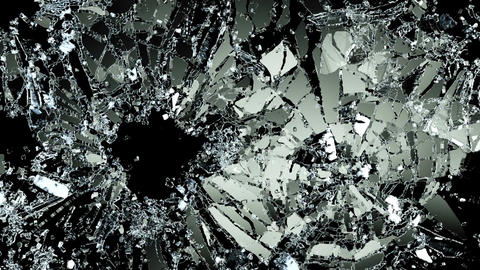 bullet holes Pieces of destructed Shattered glass in slow motion. Alpha matte Animation