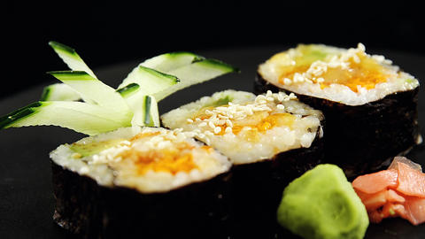 Maki sushi roll served on tray Live Action