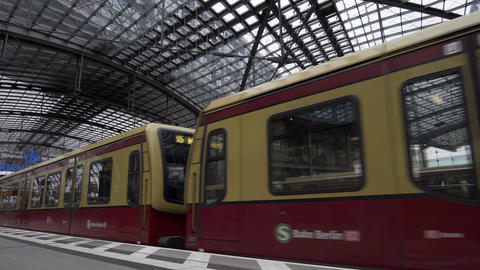 Berlin Hauptbahnhof Indoor S-Bahn Rapid Transit Train... Stock Video Footage