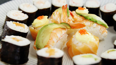 Various sushi served on plate Live Action