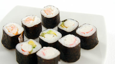 Sushi served on plate Live Action