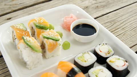 Set of assorted sushi served on plate Live Action