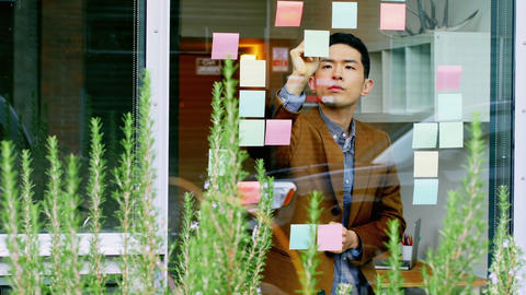 Business executive writing on sticky notes Live Action
