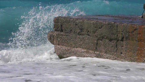 Waves crashing on rocks Footage