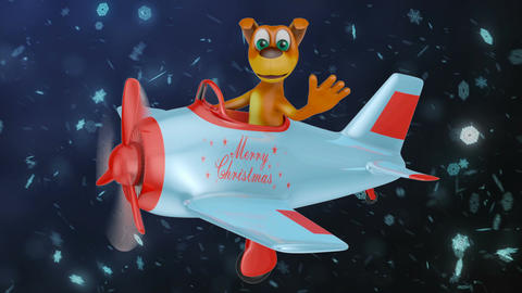 Dog in plane Merry Christmas2 Videos animados