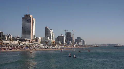 Timelapse of summer day in the Beaches of Tel Aviv Israel Footage
