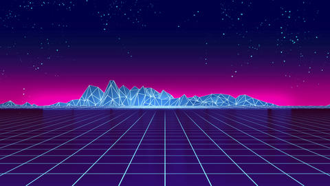 [alt video] 4k loop Retro futuristic background footage 1980s style