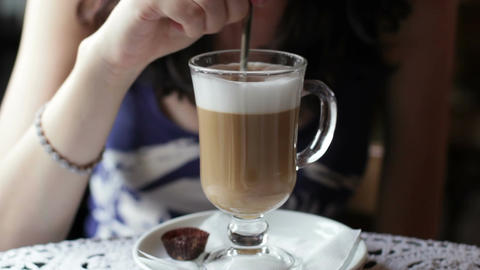 Coffee Latte In Cafe Footage