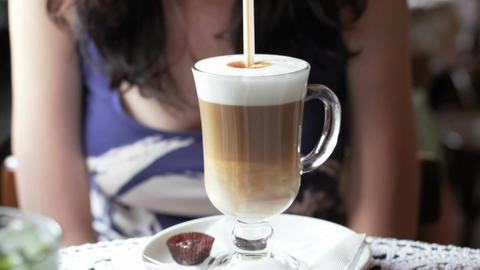 Girl Drinking Coffee Latte Footage