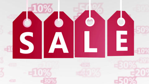 Sale concept, red hang-tags with percentage signs Animation