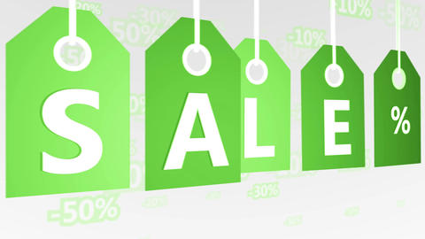 Animation of Green Hanging Price Tags, sale labels Animation