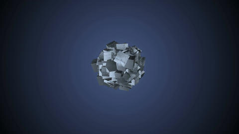 Wipe transitions with an iron textured cubes Animation