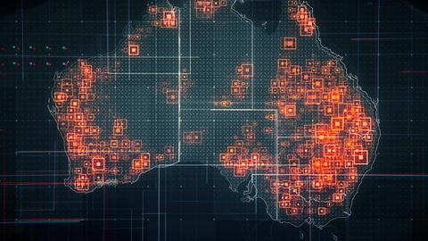 Australia Map Lines BLACK 4K Animation