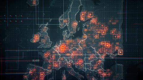 Europe Map Lines BLACK 4K Animation