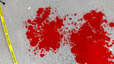 Crime scene of blood spots and line contour bodies Animation