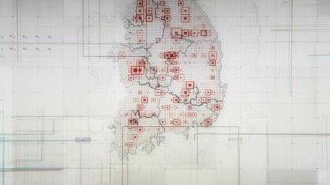 South Korea Map Lines White 4K Animation