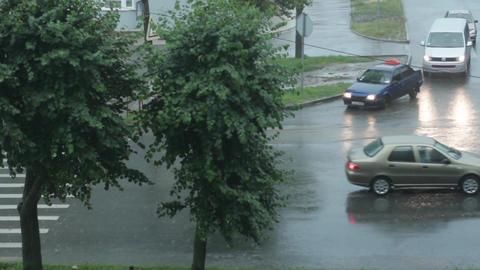 Rain Falls In City 4 Footage