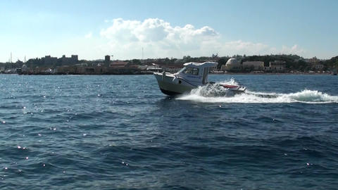 Greek coast guard boat sailing in the Gulf of Rhodes