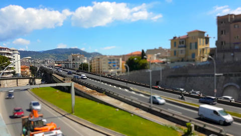 Tilt-Shift Time Lapse Of Highway Traffic On A Bridge in the City Center of Nice Footage