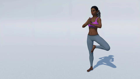 African woman in tree pose yoga on white background loopable Animation