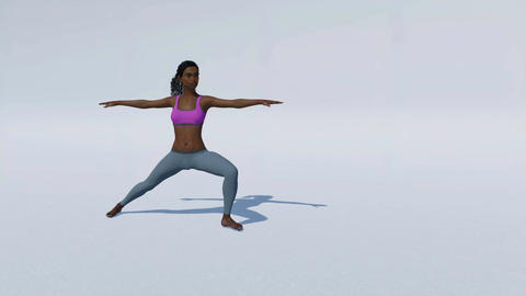African woman in yoga pose on white background loop able Animation