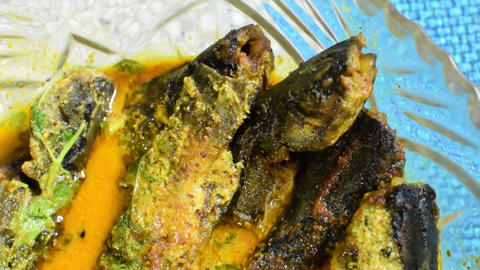 A plate full of Tyangra fishes , Bengali and Indian delicacy ビデオ