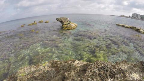 Rocks in the sea in Rhodes, Greece, 4K Footage