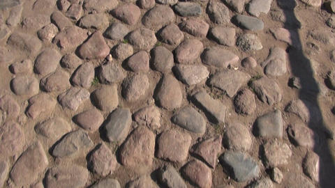 Cobble stone pavement with drainage lid Footage