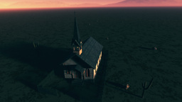Old Wooden Christian Chapel in a Desert Aerial 2