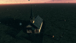 Old Wooden Christian Chapel in a Desert with Fireflies Aerial 2 Animation
