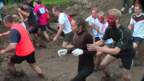 Cross-country race in water. Tyumen. Russia Footage