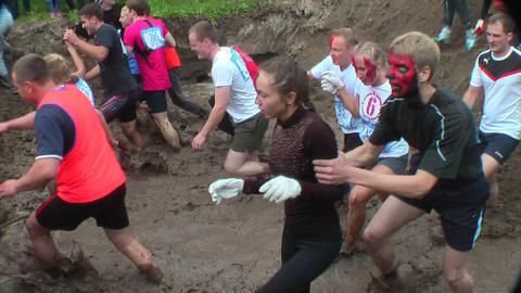 Cross-country Race In Water. Tyumen. Russia stock footage