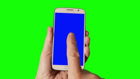 Man Using Smartphone With Green Screen stock footage