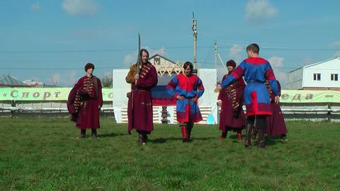 Reenactors in 18th century russian army uniform Footage
