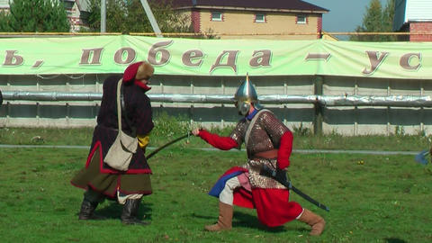 Reenactors in 18th century russian army uniform Footage