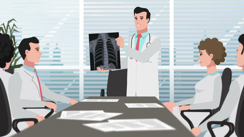 Cartoon Clinic / Doctor shows chest X-ray Animation
