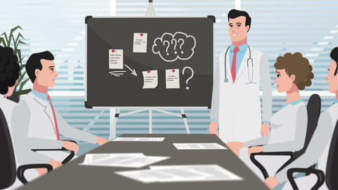 Cartoon Clinic / Man On Medical Meeting stock footage