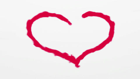 Heart painted by red on white background Animation