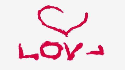 Heart and Love painted by red on white Animation