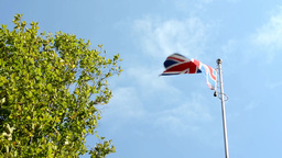 United Kingdom of Great Britain and Ireland - flag - green tree - blue sky - sun Footage