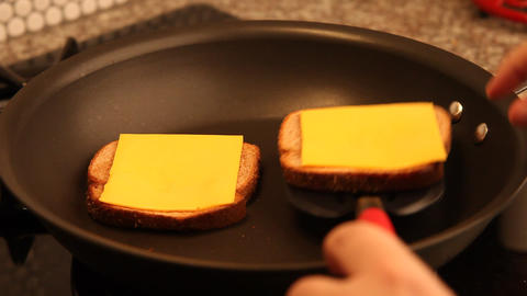 Making a Grilled Cheese Sandwich Footage